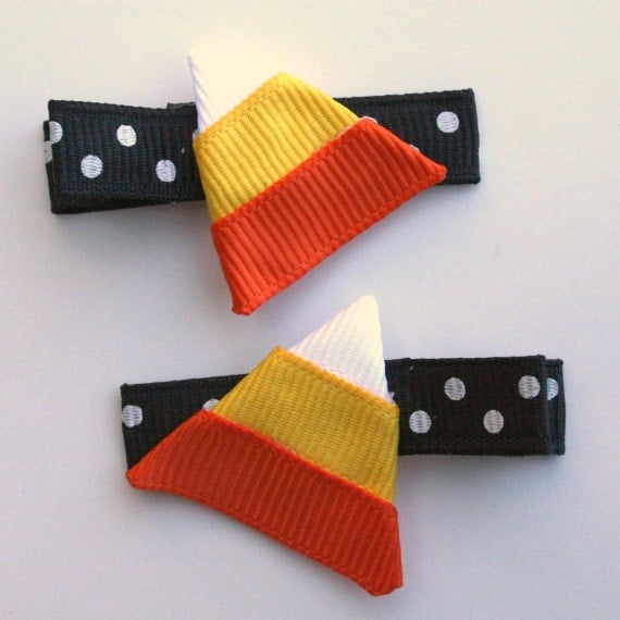 Candy Corn Ribbon Sculpture Hair Clips (2)