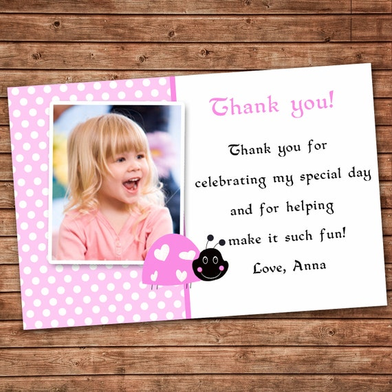 Personalized any wording pink thank you card little ladybug personalized any wording pink thank you card little ladybug birthday party or baby girl shower any event note printable photo custom bookmarktalkfo Gallery