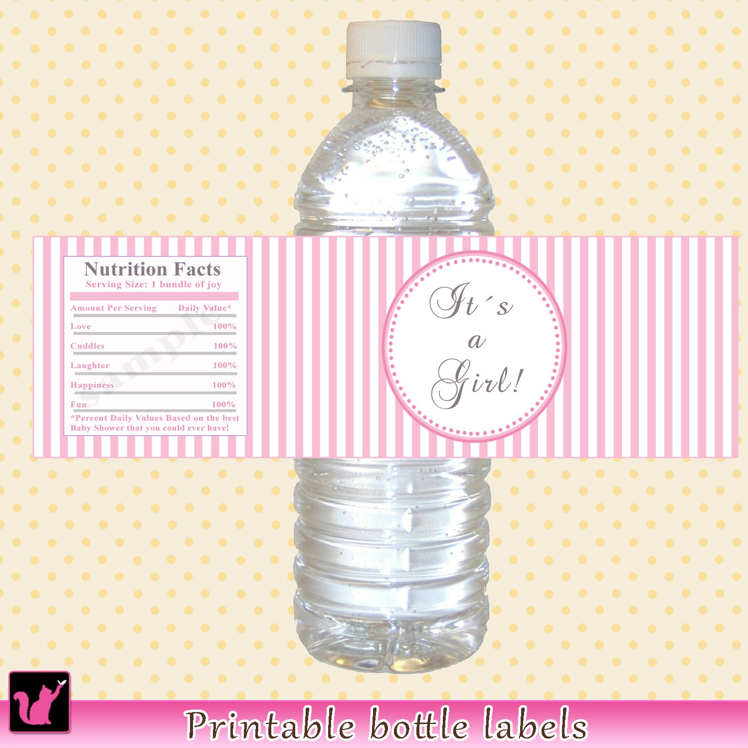 instant download baby shower water bottle labels by pinkthecat