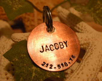 Copper Handstamped Pet ID Tag - Traditional Charm