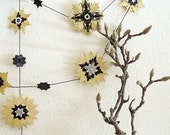 Halloween Garland, Black and Gold, with small pops of Silver, made from Vintage German Foil Dresdens - New Years