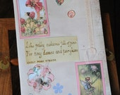 Pink Flower Fairy Journal, Shabby Chic notebook, sketchbook, scrapbook, Ideal Christmas Gift for Her Mum Teen Girl pyrography Plain book