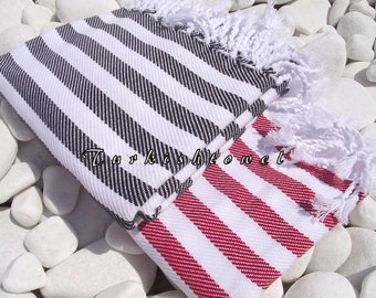 Turkishtowel-Soft Best Quality Pure Organic Cotton,Hand Woven,Bath,Beach,Spa,Yoga,Towel or Sarong-Red and White Stripes