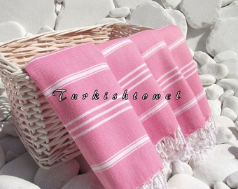 Turkishtowel-Set of 4-High Quality,Pure Cotton,Hand,Hair,Head,Tea,Dish,Baby,Travel Towel or Unisex Neck Warmer-White Stripes on Rose Pink
