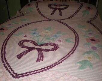 Beautiful Vintage Chenille Bedspread Pink