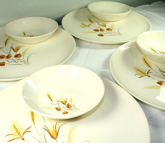 Autumn Harvest Vintage Dinnerware Set, 4 Dinner Plates, 4 Dessert/Sauce Bowls - Taylor Smith and Tayler Ever Yours
