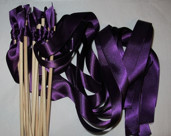 Tie the Knot - Satin Wedding Ribbon Wands - Custom Colors - Pack of 100 - Shown in Plum