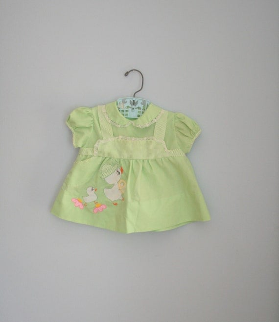 60s LIME DUCKLING Baby Dress....size 9 months....green. ruffles. lace. girl. baby. 1960s. stripes. retro. vintage baby