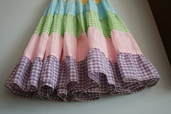 80s COLORFUL RUFFLED Skirt....girls. kids. children. checkered. ruffles. tiered. candy. hippie. boho. summer. rainbow