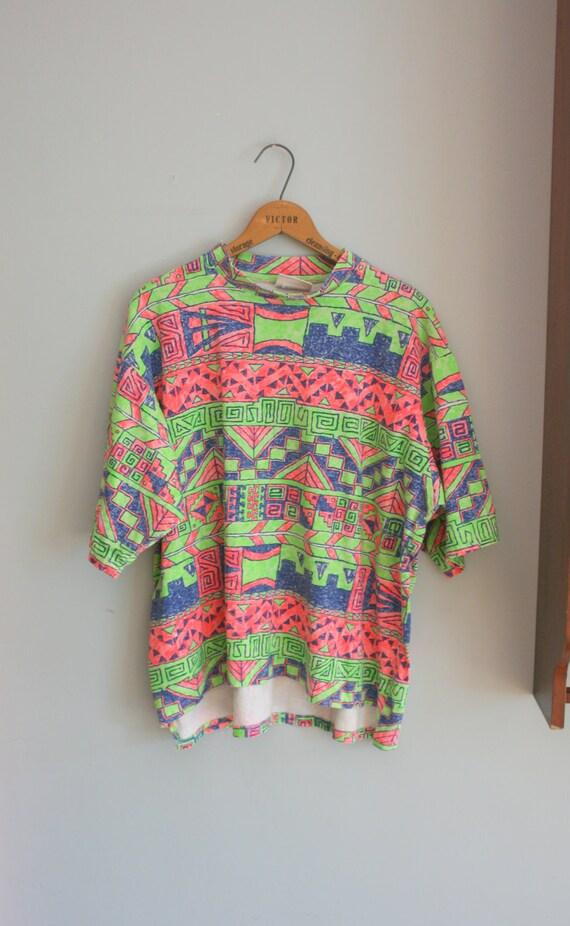 80s RAD NEON TEE ...size large to xlarge men.....geometric. zack morris. neon. 80s tshirt. cotton tee. killer. aztec. boho. urban