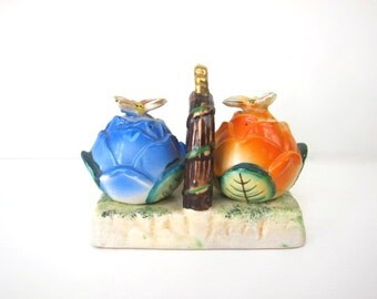 Blue and Orange Roses Salt and Pepper Shaker, Butterflies, Carry Tray, Occupied Japan