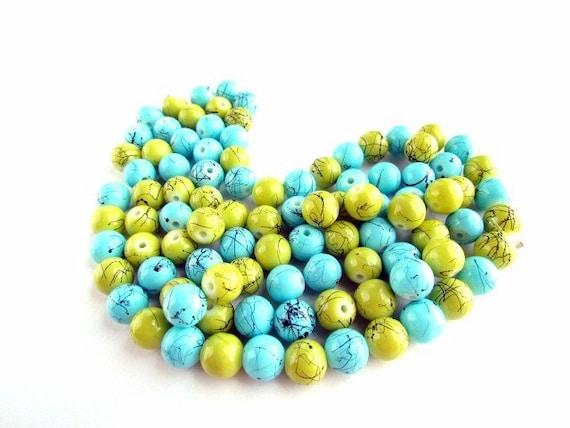 96 Glass Splatter Beads 12mm