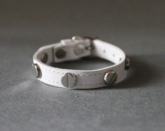 French Stud Leather Bracelet(White)