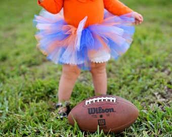 Gator TUTU for Baby in Orange and Blue with Flower Headband - Newborn to 2T - Birth Announcements, 1st Birthday, Shower Gift, Football Games