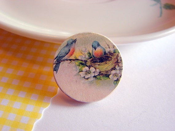 Tiny Wood Pin Brooch - Blue Birds and Nest - Decoupage Collage Vintage Blue Bird Woodland Shabby