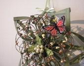 "Green Summer Wreath Alternative with Butterfly 11"" - Woven Star"