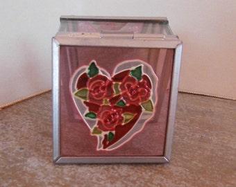 Art Glass Rose Heart Trinket Box