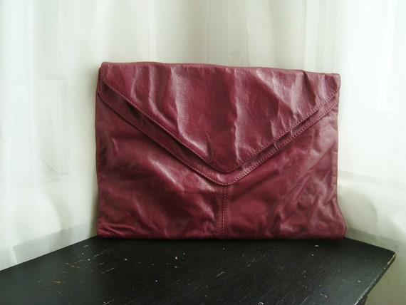 Maroon 80's Italian Leather Envelope Clutch With Two Compartments, Double Flap