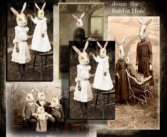 Down the Rabbit Hole collage sheet Instant download