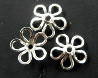 20 of 925 Sterling Silver Flower Bead Caps 8 mm. :th1151