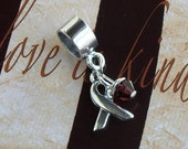 Sterling Silver Sickle Cell Anemia, Multiple Myeloma Awareness Charm Bead, European Style