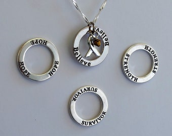 Strength- Survivor - Hope - Believe - Custom Childhood Cancer, COPD Awareness Inspirational Necklace - Sterling Silver