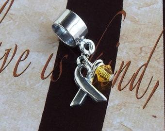 Sterling Silver Spina Bifida, Endometriosis, Sarcoma, Military Deployment Awareness Charm Bead, European Style