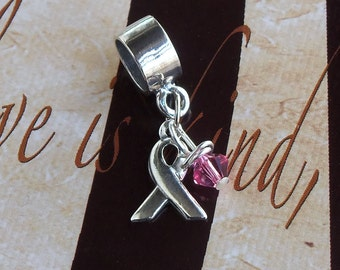 Sterling Silver Breast Cancer, Cleft Palate, Menopause Awareness Charm Bead, European Style