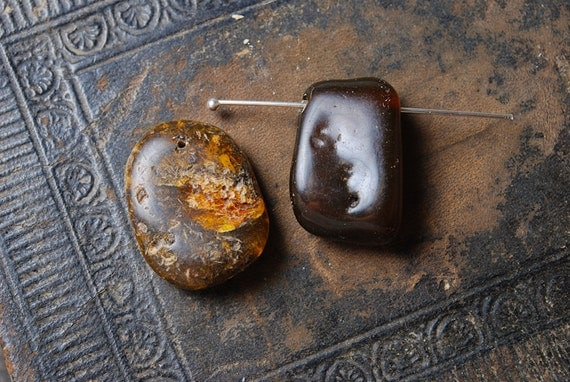Set of 2 genuine Baltic Amber pendants, black