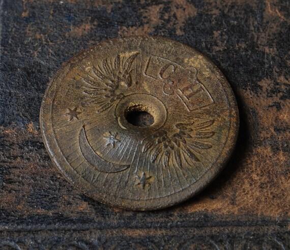 Antique brass plate, part  of kerosene lamp