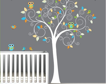 Vinyl Wall Decals Children Tree Sticker with Owls, Birds