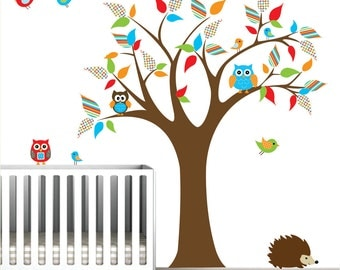 Vinyl Wall Decals Wall Sticker Decal Tree with Owls Birds-Nursery Decals-e34