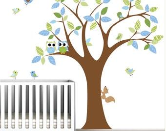 Vinyl Wall Decal Sticker Decals -Tree Owls Birds Animals