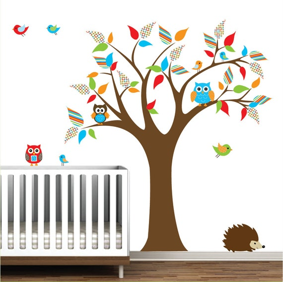 Vinyl wall decals wall sticker decal tree with owls for Bird and owl tree wall mural set
