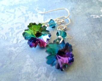 Crystal Snowflakes-Earrings-Iridescent Green-Blue-Purple