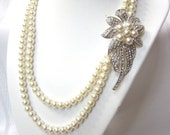 Bridal Necklace - Double Strand,  Pearl Necklace with Decorative Embellishment- Perfect for Wedding, Prom or Formal