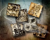 Gothic Stone Rosettes (2) Squares 1.5 inch or 1 inch or 0.875 inch or scrabble - Digital Collage Sheet - see promo offer