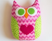 Personalized Owl Tooth Fairy Pillow - Pink and Green - MyCreativeFrenzy