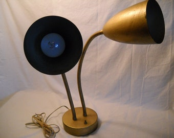 Vintage Double Gooseneck Lamp/ Industrial Desk Lamp/ Mid Century Double Light Lamp/Gooseneck Lamp