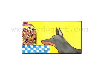 Whimsical Doberman Treats print 5x7