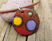 OOAK torch fired enamel sgraffito pendant - purple, yellow, and green