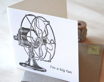 Father's Day, Mother's Day Im a big fan square - all occasion letterpress card vintage fan retro fan black and white with kraft envelope