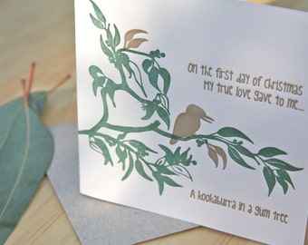 Christmas card, Letterpress, Australian themed. 'On the first day of Christmas my true love gave to me, a kookaburra in a Gum Tree'
