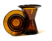 Dansk Glass Amber Candle Holders