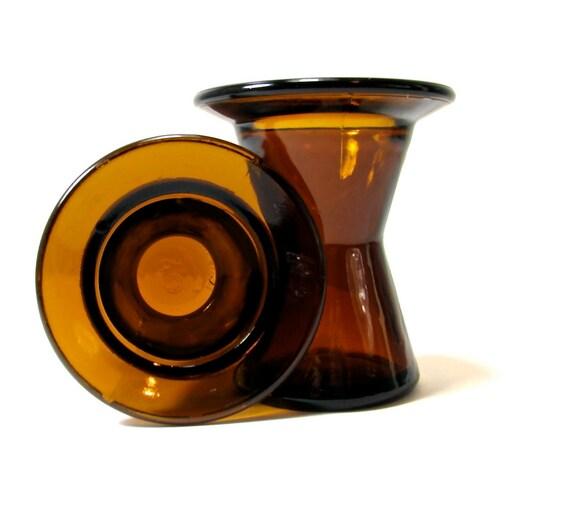 Dansk Glass Amber Candle Holders