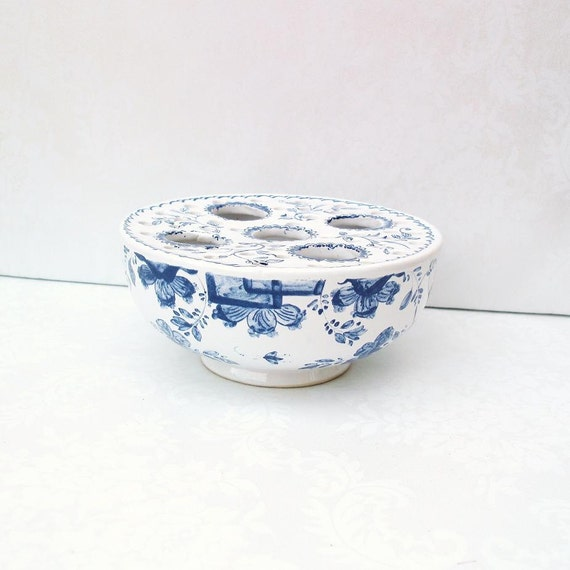 Mid Century Modern  Portuguese Pottery  Pottery from Portugal  Blue White Flower Frog Bowl  Blue Floral Crocus Bowl