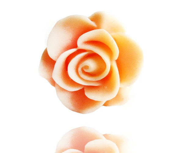 Peach Rose Resin Flower  Silver Adjustable Ring (Get 12% OFF with COUPON CODE for Special Sale)