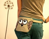 Floral Owl fanny pack, belt bag, tan with pink and  teal flowers, fall fashion -made to order