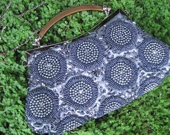 Vintage Beaded Sequin Grey Pearl Silver Evening Clutch Handbag