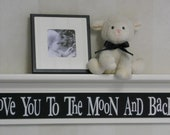 "Black Nursery Decor - Baby Nursery Wall Art 30"" Linen (Off White) Shelf and Sign - Love You To The Moon And Back"